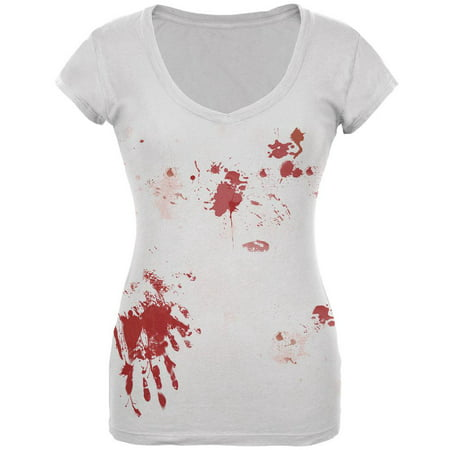 Halloween Blood Splatter Costume Juniors V-Neck T Shirt - White Trash Halloween Costume Ideas For Women
