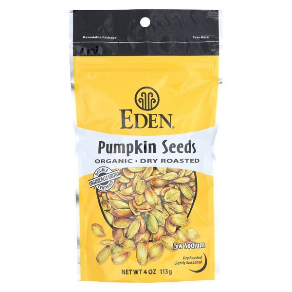 Eden Foods Organic Pumpkin Seeds – Dry Roasted – pack of 15 – 4 Oz.