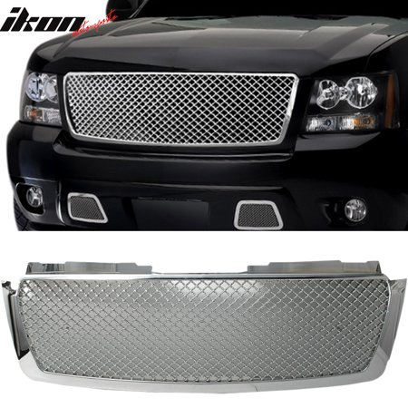 Fits 07-14 Tahoe Suburban Avalanche Mesh Chrome Bumper Cover Hood Grille Grill