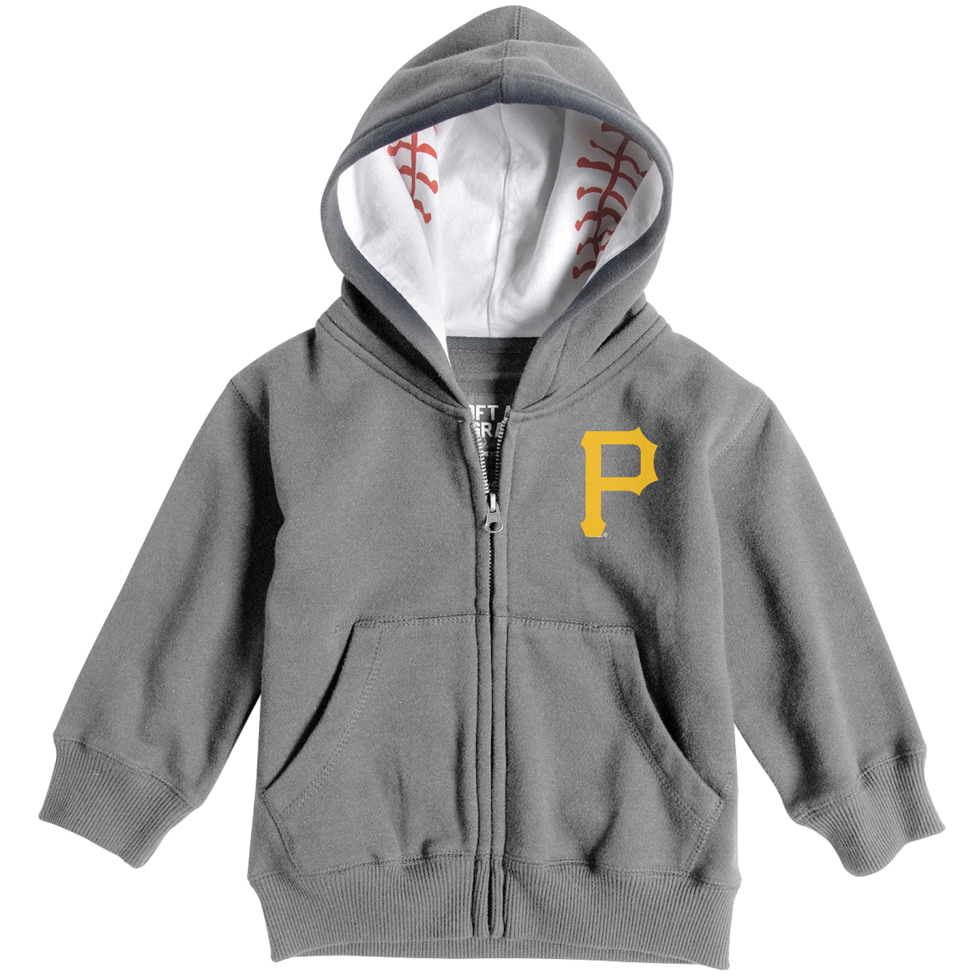 Pittsburgh Pirates Soft as a Grape Toddler Baseball Print Full-Zip Hoodie - Heathered Gray