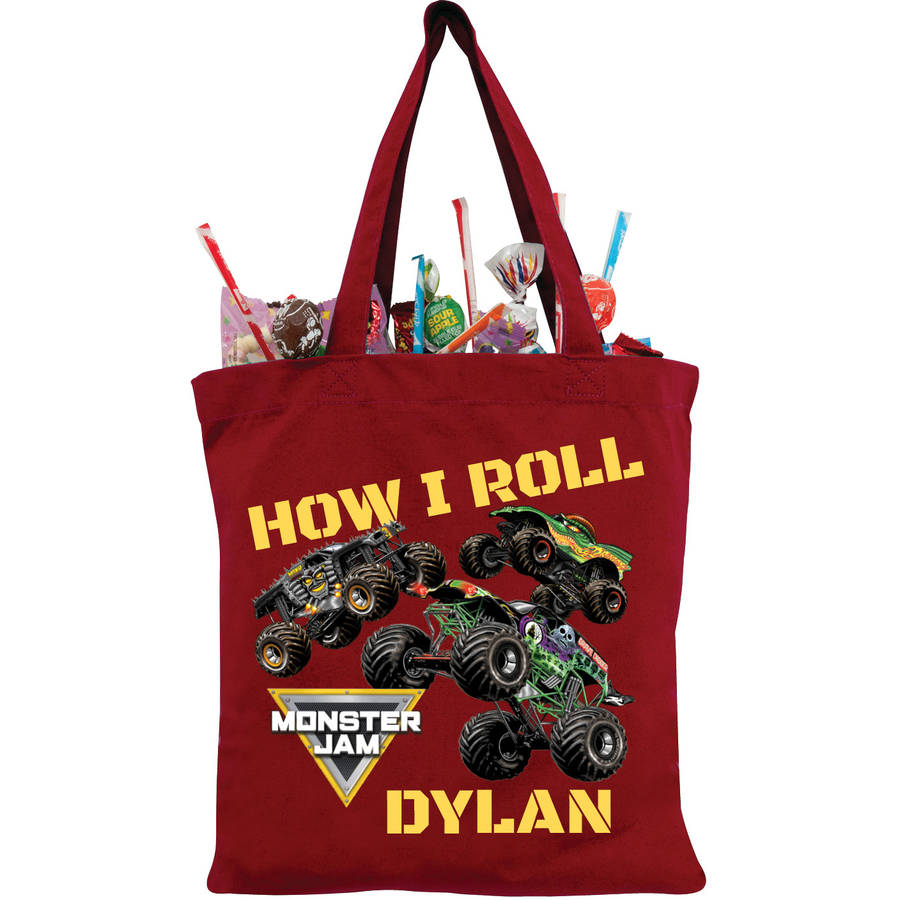 Personalized Monster Jam How I Roll Red Tote Bag, Red