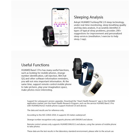 HUAWEI Band 3 Pro 0 95-Inch AMOLED Color Screen 120*240 BT 4 2 Built-In  Independent GPS Smart Bracelet Real-Time Heart Rate Sleep Monitoring Heart