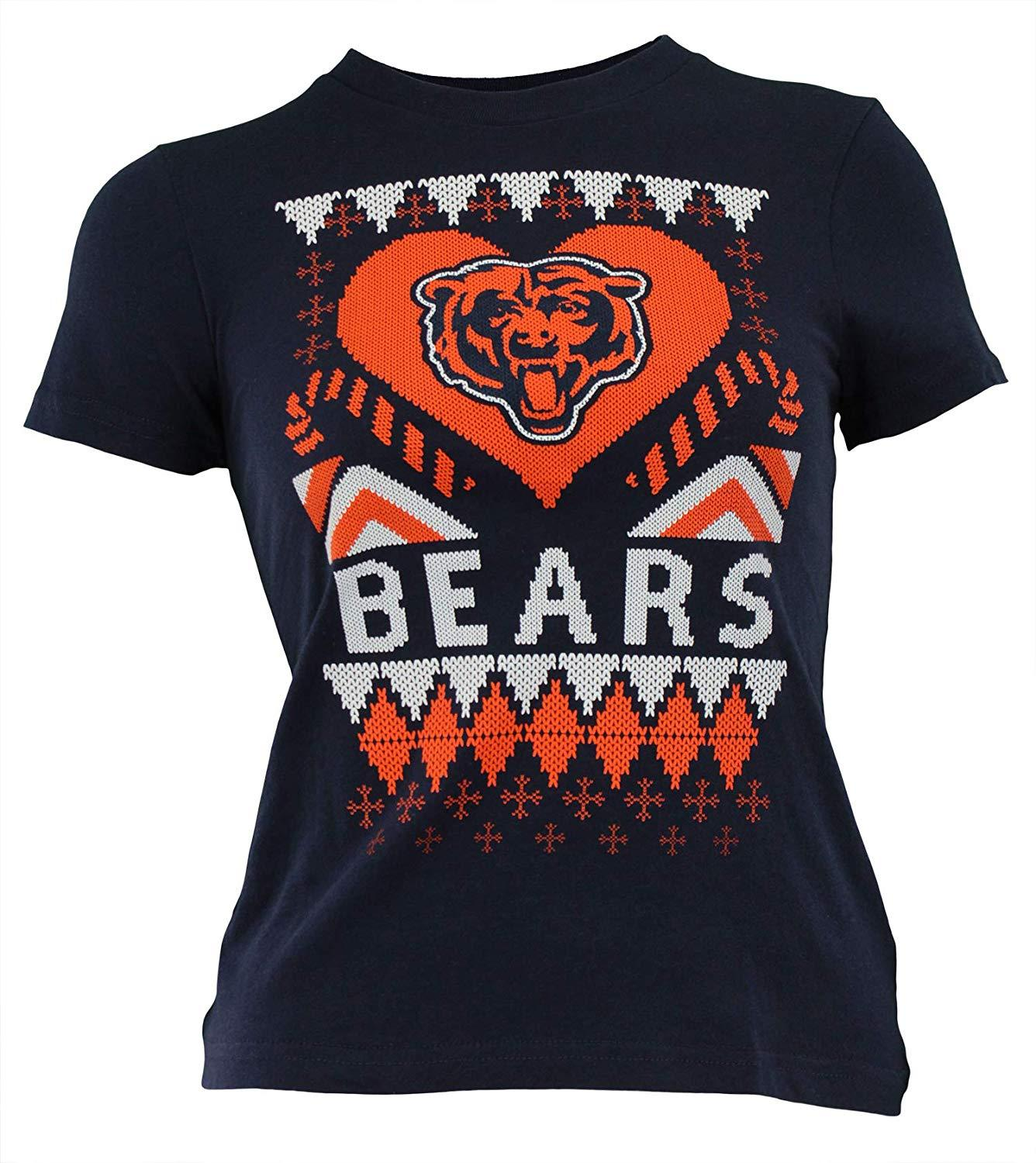 Outerstuff NFL Youth Girls Chicago Bears Candy Cane Love Tee