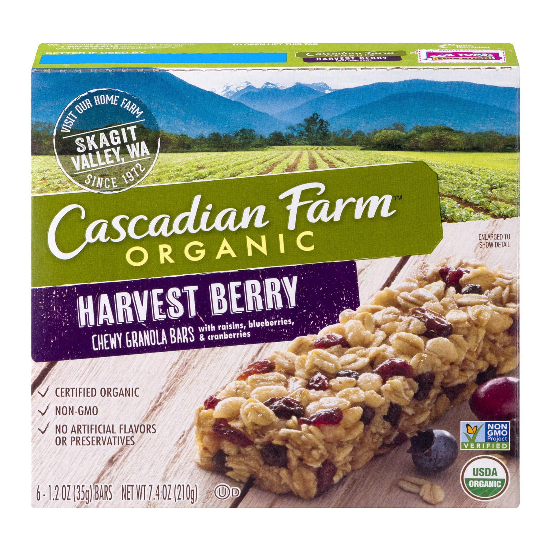 (2 Pack) Cascadian Farm Organic Granola Bars Harvest Berry Chewy Granola 6 Ct