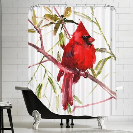 Curtains Ideas bird shower curtain : Americanflat Cardinal Bird Shower Curtain - Walmart.com