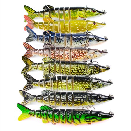 Mancro Fishing Lure,5inch Lifelike Multi Jointed Segement Pike Muskie Hard Minnow Bait Swimbait Crankbait Treble
