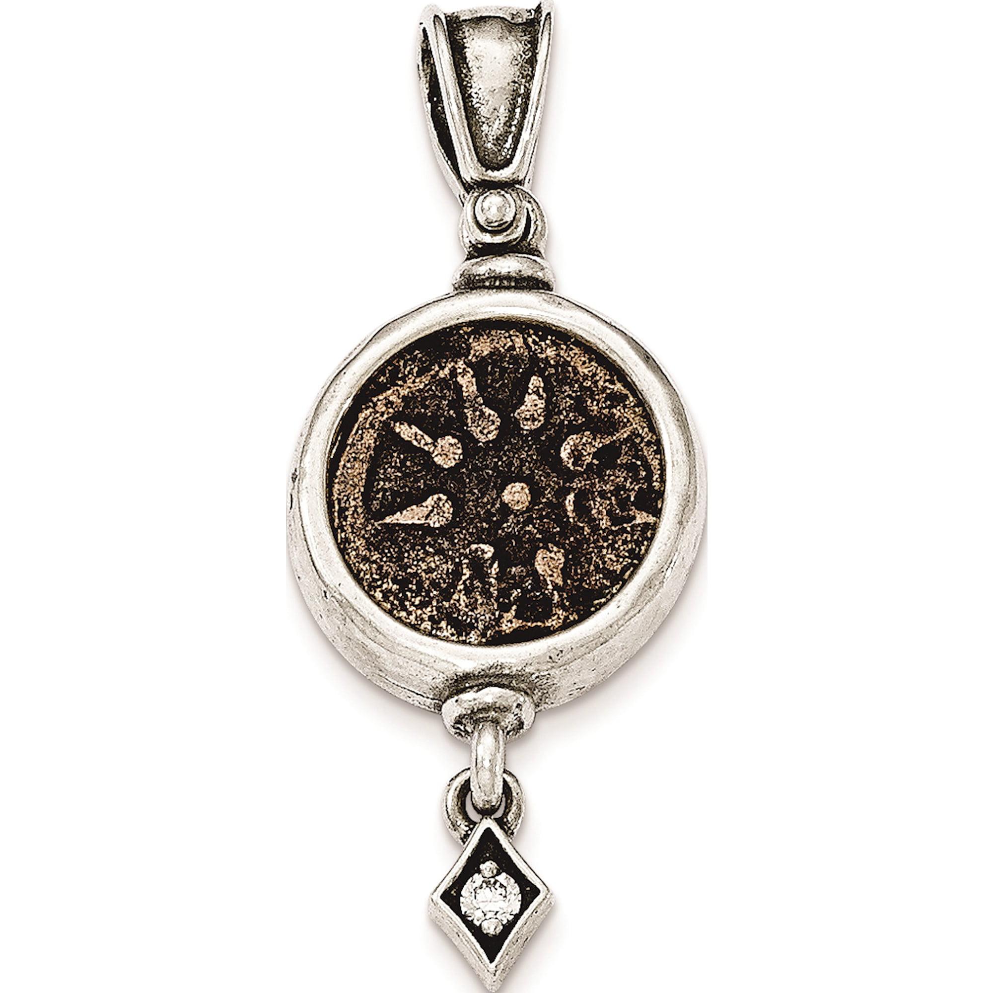 925 Sterling Silver Antiqued Widows Mite Coin Cz Dangle Pendant Charm Walmart Canada