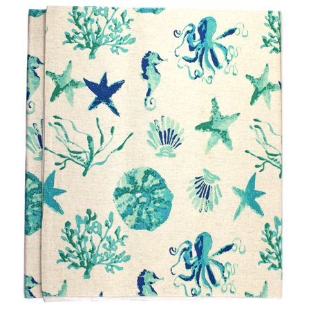 Oceanside Print Teal Blue Starfish Shells Coral Table Runner 72 Inch Cotton (Coral Table Runner)