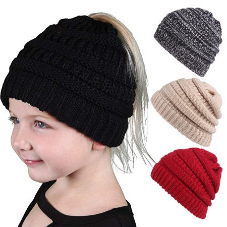 Magicfly C.C Ponytail Beanie Hat for Kids Children,Stretchable Soft Cable Knit Beanie Hat for Outdoor Activities&Gifts for Kids](Hats For Kids)