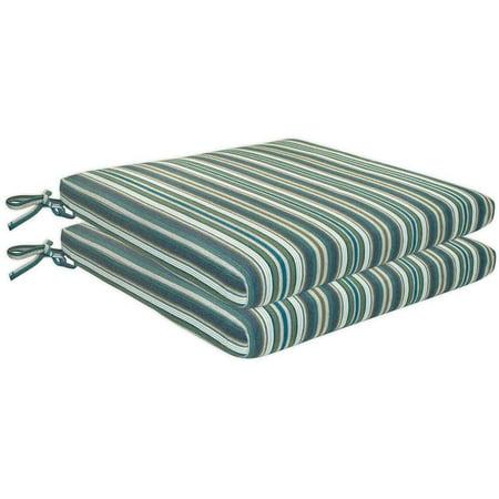 Sunbrella 2 Pack Seat Pads Striped Patio Chair Cushions, 18