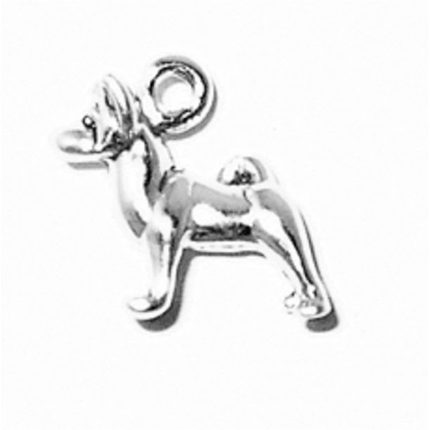 "Sterling Silver 8"" 4.5mm Charm Bracelet With Attached 3D Small Standing Akita Pet Dog Breed Charm"