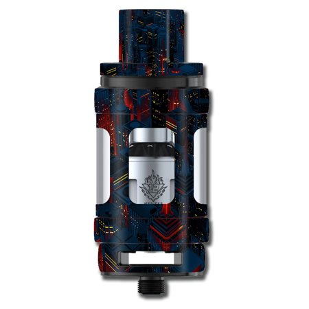Skins Decals For Smok Tfv12 Cloud King Tank Vape Mod / City Glow At Night Skyline View - Glow City Com