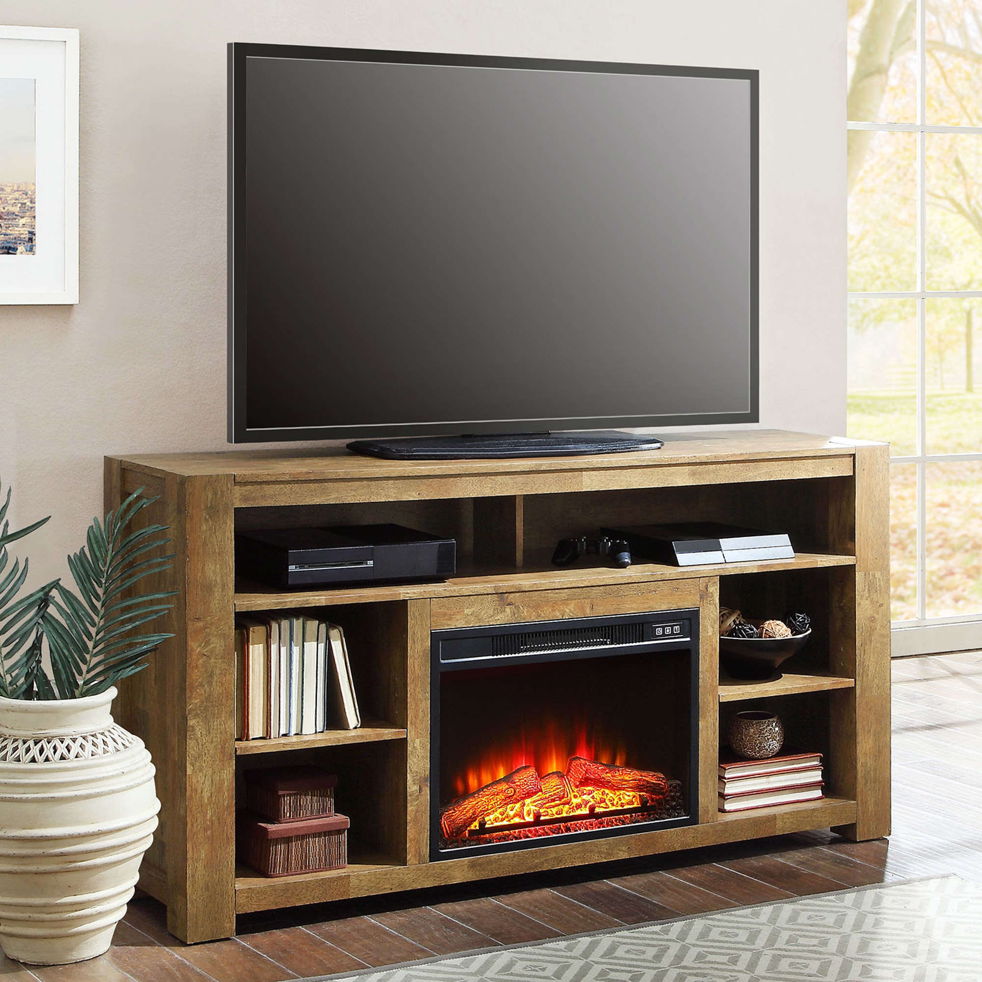 Better Homes and Gardens Bryant Media Fireplace Console, Rustic ...