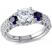 2 Carat T.G.W. Created White and Blue Sapphire with 1/3 Carat T.W. Diamond 10kt White Gold Bridal Set