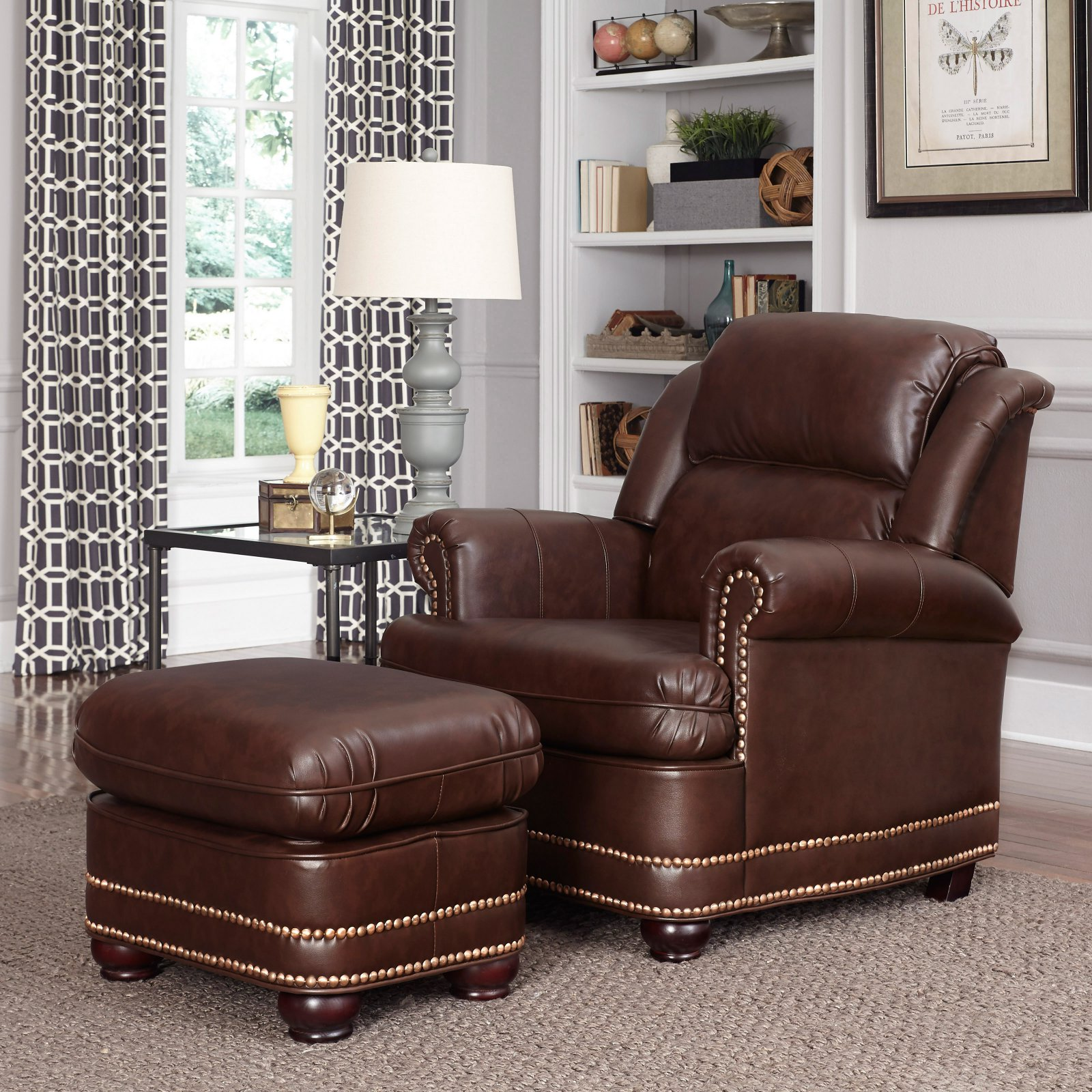 Charmant Home Styles Beau Stationary Faux Leather Chair And Ottoman, Brown