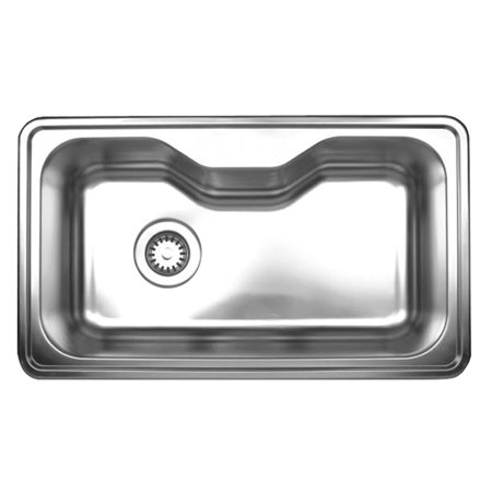Whitehaus WHNDA3016-0 Stainless Steel Single Bowl  30'' Drop-In Kitchen Sink Whitehaus Stainless Steel Sink