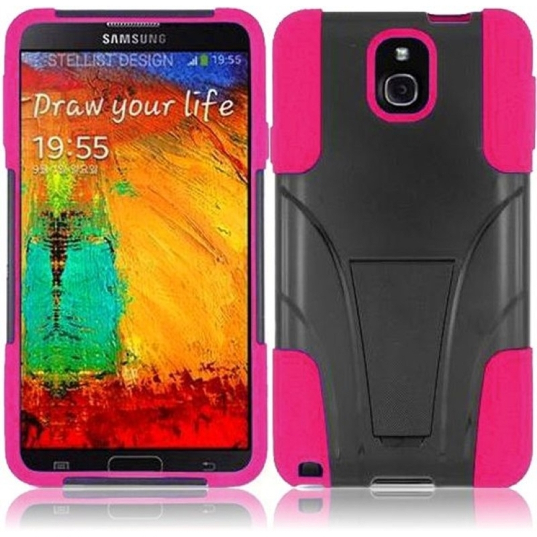 Insten For Samsung Galaxy Note 3 T-Stand Case Black /Hot Pink