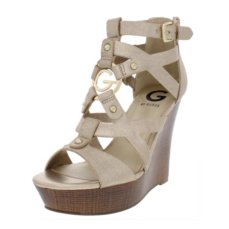 a6999d6e4 G by Guess - G by Guess Womens Dodge Embellished Faux Leather Wedge Sandals  - Walmart.com
