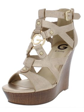 becf1d2c7a90 Product Image G by Guess Womens Dodge Embellished Faux Leather Wedge Sandals