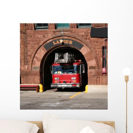 Fire Station Wall Mural By Wallmonkeys L And Stick Graphic 24 In W X H Wm123668