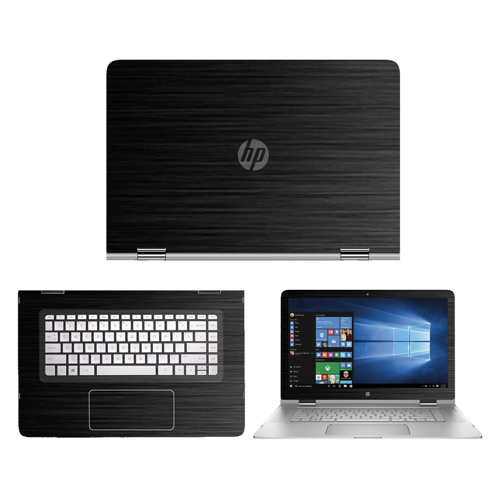 Black Brushed Aluminum skin decal wrap skin Case for HP S...