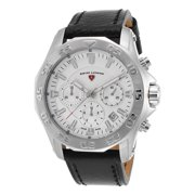 16198Sm-02S Islander Chronograph Black Genuine Leather White Dial Stainless Steel Watch