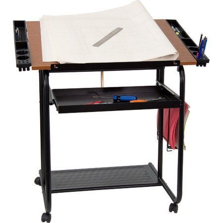 adjustable drawing and drafting table with black frame and dual wheel casters - Dual Picture Frame