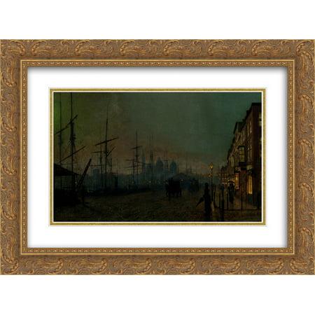 John Atkinson Grimshaw 2X Matted 24X18 Gold Ornate Framed Art Print Humber Dockside  Hull