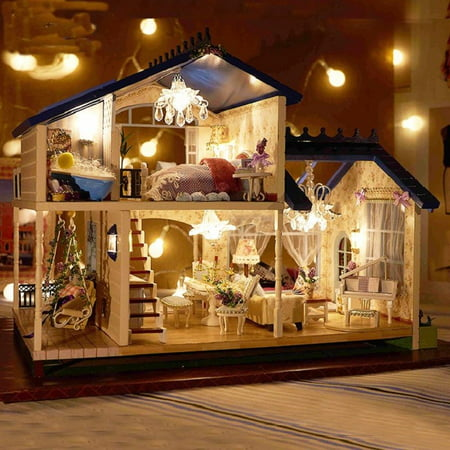 Hot Model Teen (Hot DIY Wooden Miniature Provence Dollhouse Kit Model Toy with Music & LED Light Kids Children Teens Birthday)