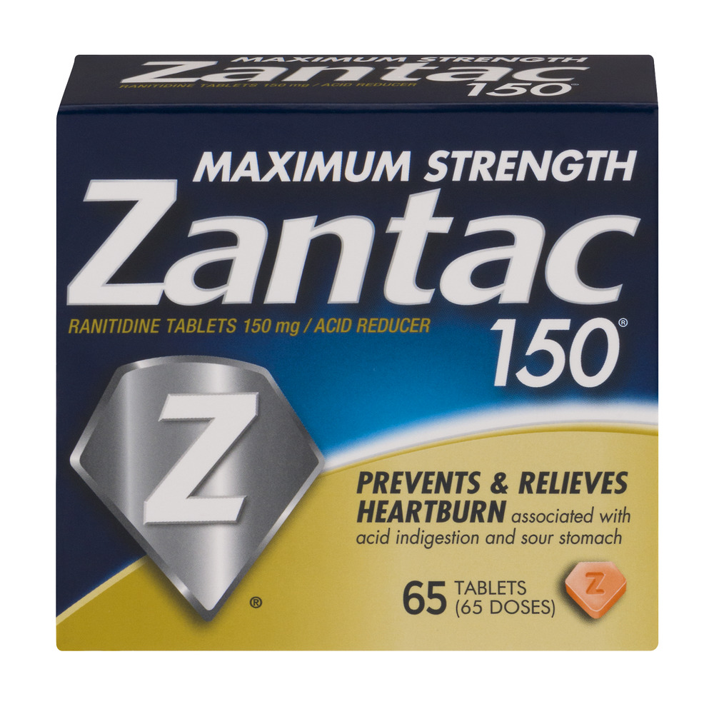 Zantac 150mg Maximum Strength Ranitidine / Acid Reducer Tablets, 65ct