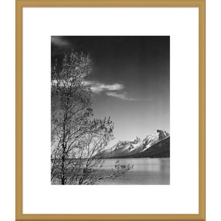 Global Gallery Ansel Adams 'View of mountains with tree in foreground, Grand Teton National Park, Wyoming, 1941' Framed Wall