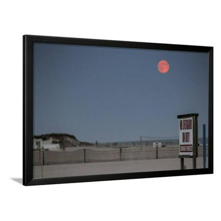 Super Moon and Lifeguard Sign Seen on Atlantic Beach on Long Island, NY Framed Print Wall Art (Long Beach Ny Halloween Events)