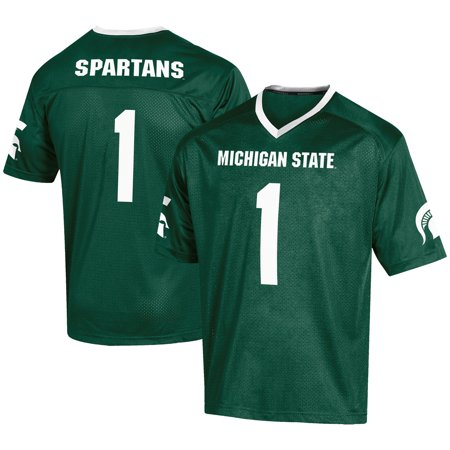 Men's Russell #1 Green Michigan State Spartans Fashion Football Jersey (Broncos Football Jerseys For Men)