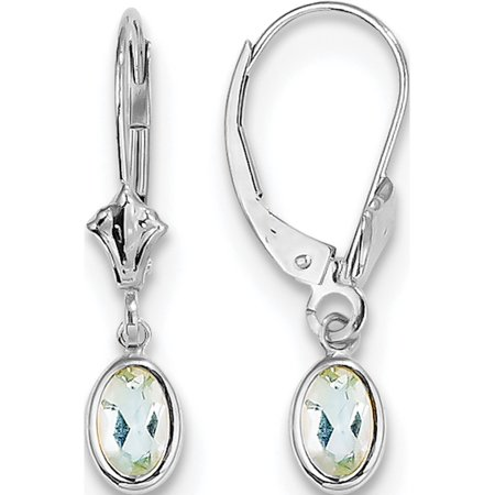 14k White Gold White 6x4mm Oval Aquamarine/March (4x23mm) Earrings - image 1 of 3