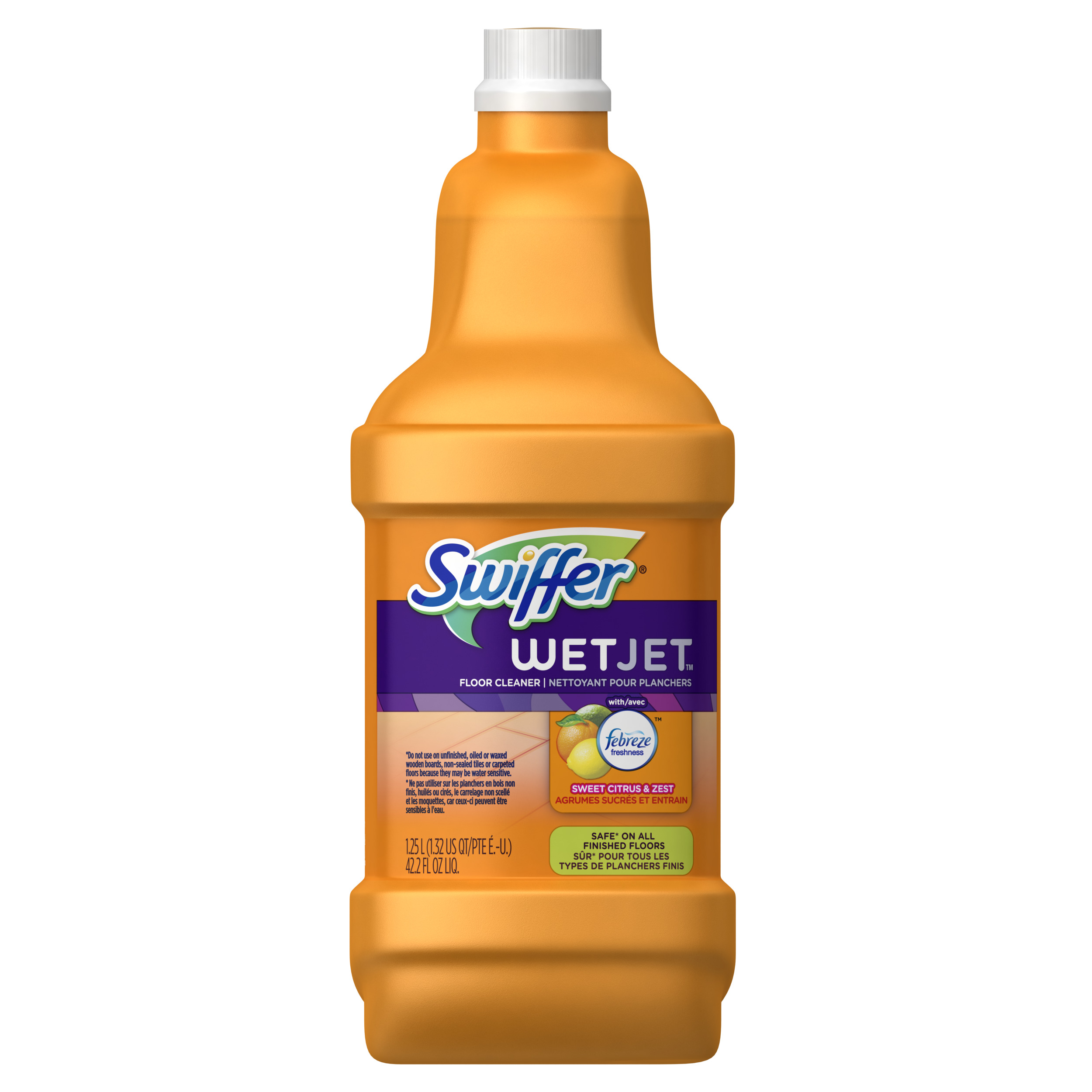 Swiffer WetJet Multi-Purpose Floor and Hardwood Liquid Cleaner Solution Refill, with Febreze Sweet Citrus & Zest, 42.2 fl oz