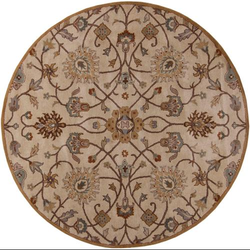 8' Valeria Desert Sand and Russet Brown Hand Tufted Round Wool Area Throw Rug