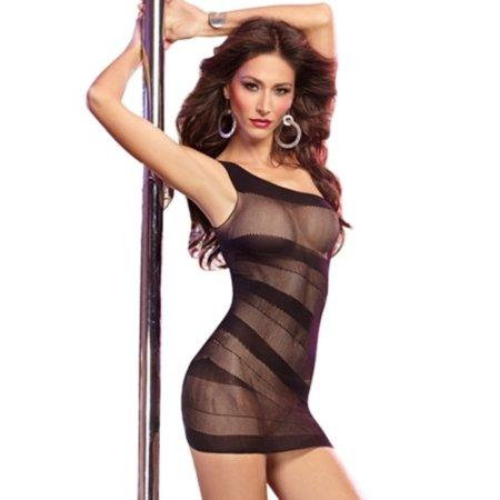 Dreamgirl Sheer Illusion Fishnet Dress 9753 Black
