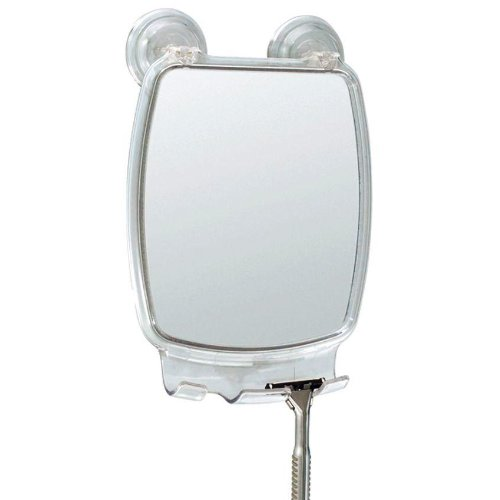 Fog Free Shower Shaving Rectangular Mirror With Power Lock Suction Mount by
