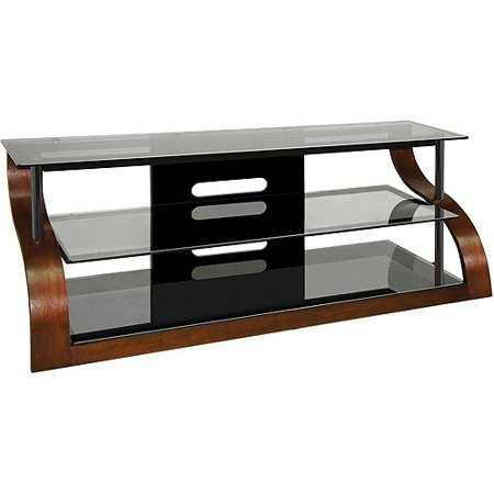 bello 3 shelf curved wood flat panel tv stand for tvs up to 70 walnut smoke. Black Bedroom Furniture Sets. Home Design Ideas