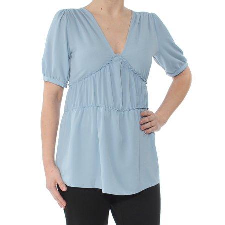 Womens Light Blue Short (MICHAEL KORS Womens Light Blue Ruched Short Sleeve V Neck Short Sleeve Top  Size: S)