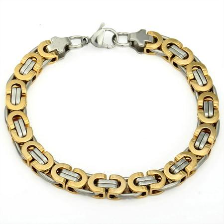 Hermah 8mm Mens Flat Byzantine Stainless Steel Bracelet Chain (Flat Byzantine Bracelet)