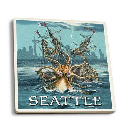 (Seattle, Washington - Kraken Attacking Ship - Lantern Press Artwork (Set of 4 Ceramic Coasters - Cork-backed, Absorbent))