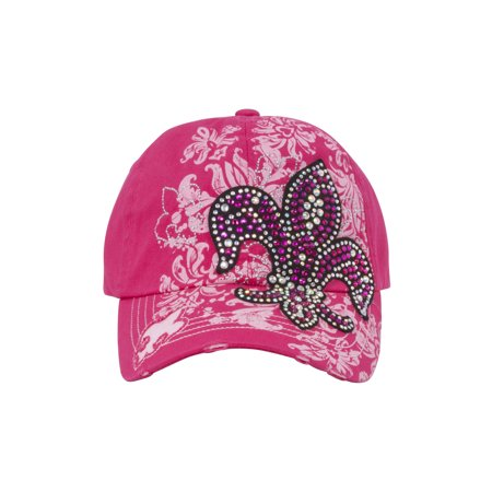 TopHeadwear Fleur-de-lis Distressed Baseball Cap - Hot Pink - image 1 de 2