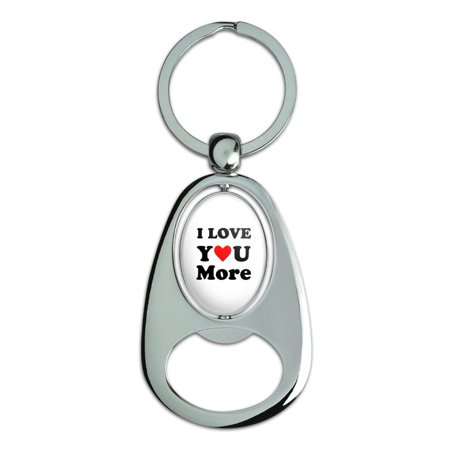 Spinning Plate Metal (I Love You More with Heart Chrome Plated Metal Spinning Oval Design Bottle Opener Keychain )