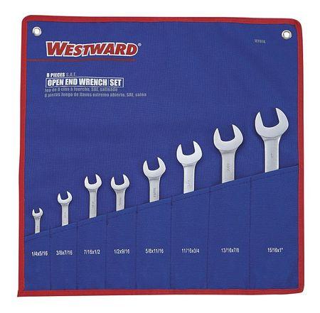 WESTWARD Open End Wrench Set,15 Deg,1/4-1 in.,8P 1EYD7