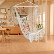 Clearance! Large Hammock Chair Swing, Relax Hanging Swing Chair Cotton Weave for Superior Comfort Durability, Air/Sky Chair Swing with Tassel for Yard Bedroom Patio Porch Indoor Outdoor, B839