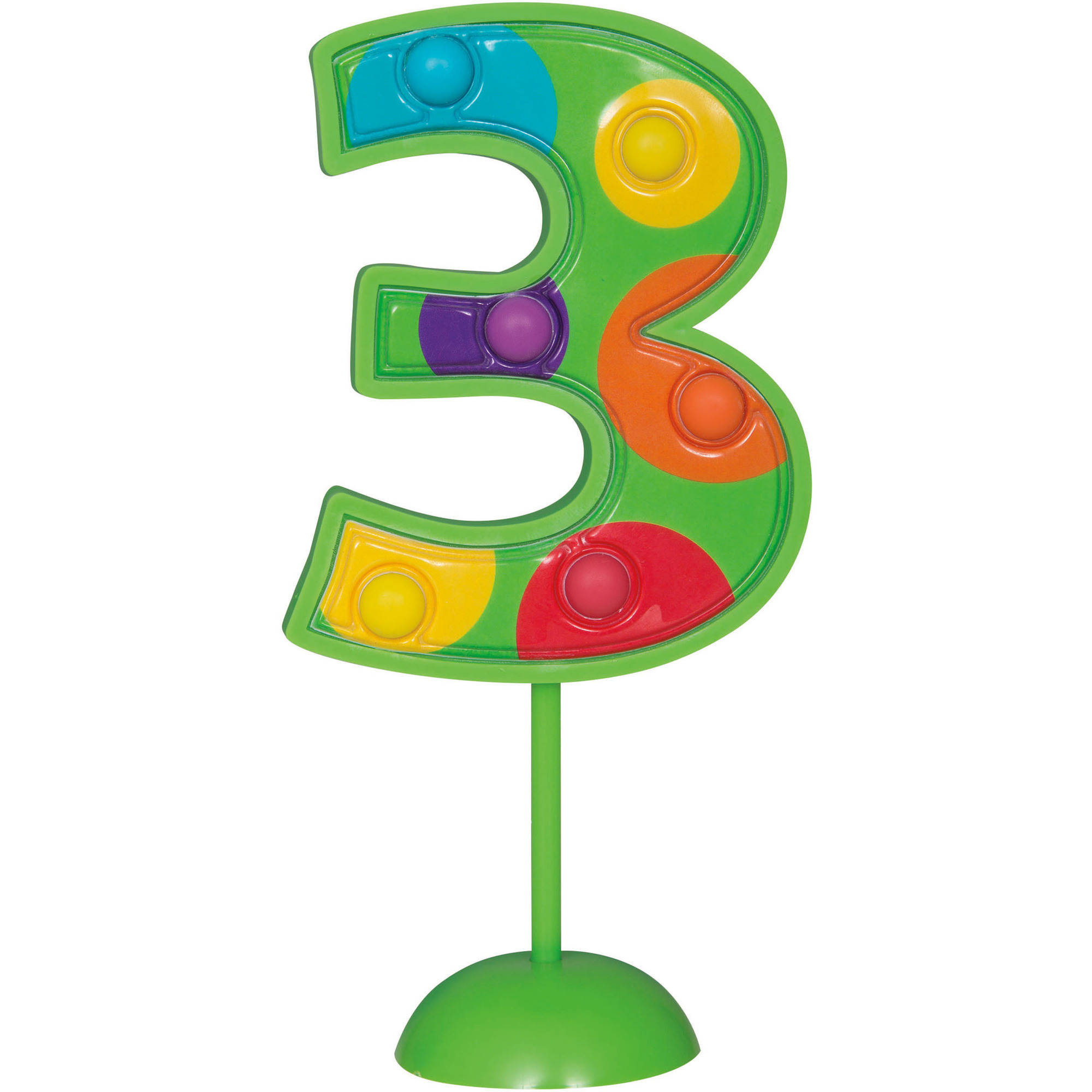 Flashing Number 3 Cake Topper Decoration