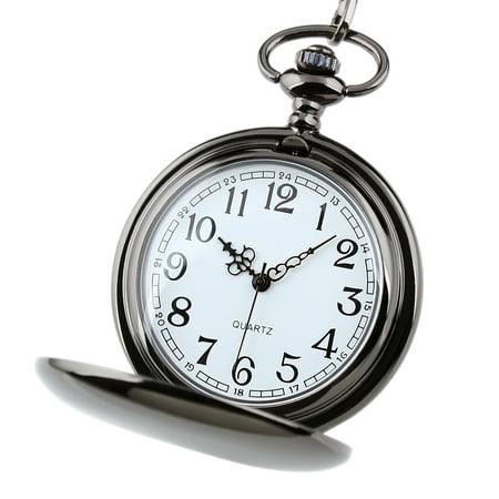 Quartz Pocket Watch Mens Stainless Steel White Dial Arabic Numerals Gift Pendant Quartz Silver Tone Pocket Watch