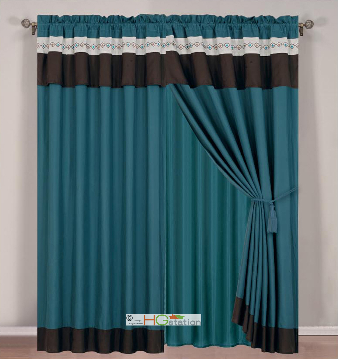 4 Pc Floral Damask Embroidery Curtain Set Teal Blue Green Brown Ivory Drape Valance Liner