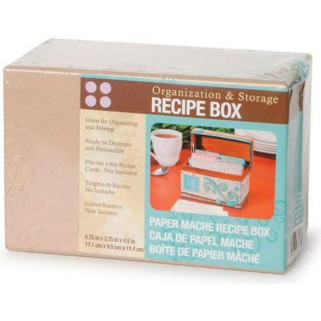 Paper Mache Recipe Box, 6.75 by 3.75 by 4.5-Inch, 1 Piece set By (Best Paper Mache Recipe)